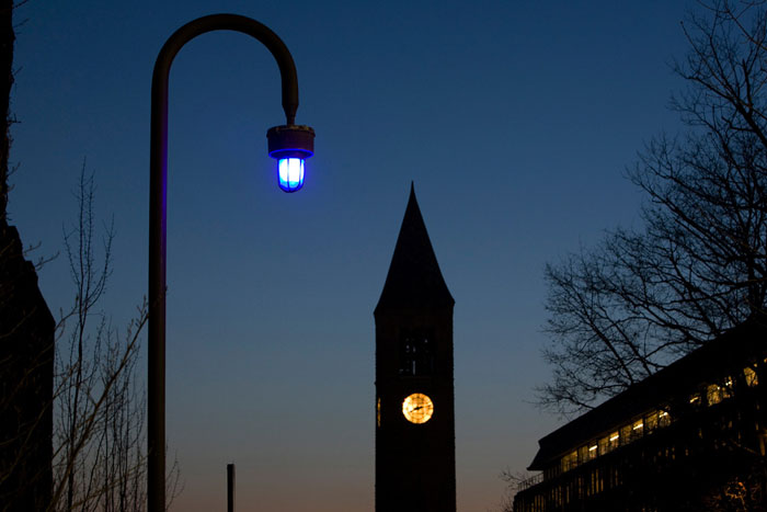 Bluelight in front of clock tower