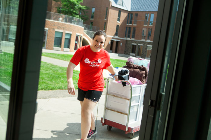 student moving into campus residence