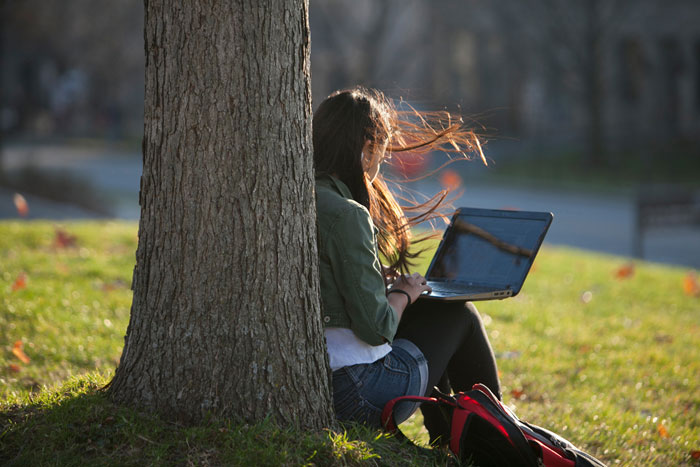 girl working on laptop under tree